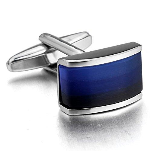 MunkiMix 2 PCS Rhodium Rhodiniert Manschettenknöpfe Silber Ton Blau Hemd Hochzeit Business 1 Paar Set Herren