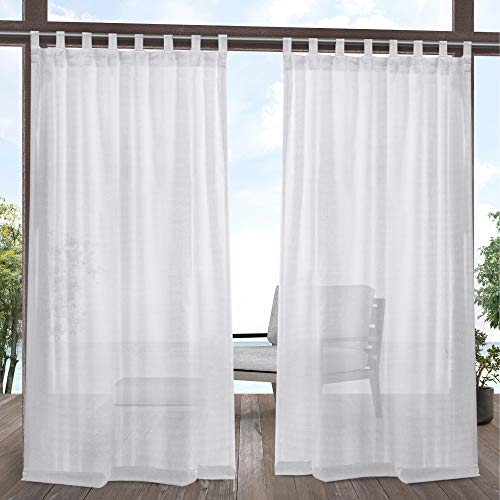 Exclusive Home Curtains EH8413-01 2-120V Miami Tab Top Curtain Panel, 54x120, Winter White, 2 Panels