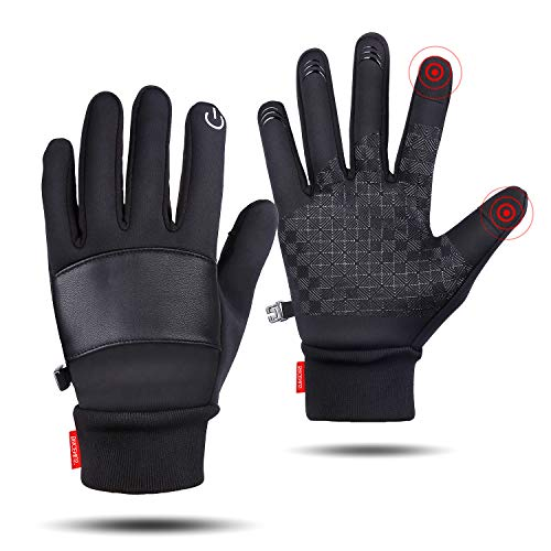 SkyGenius Winter Gloves, Cycling Gloves Riding Gloves Bike Gloves Motorcycles Gloves, Winter Gloves for Men Women, Windproof Waterproof Slip-Proof Gloves Keep Warm in Winter for Outdoor, Large