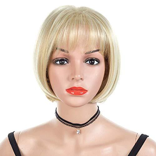 Perruque Blonde Courte Frange Synthétique Résistant À La Chaleur, Approprié pour Le Jeu de Rôle pour Les Femmes Blanches Vestimentaires