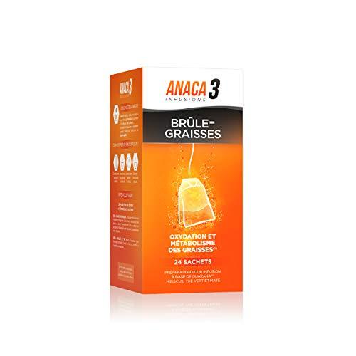 Anaca3 – Infusion Brûle-Graisses – Triple Action – 100% Naturel – Guarana, hibiscus, thé vert et maté – 24 Sachets