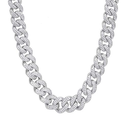 KRKC&CO 12mm Mens Iced Out Cuban Link Hip Hop White Gold Plated Miami Cuban Link Chain Choker Necklace 18-24 inches