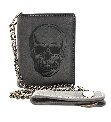 Biker Geldbörse mit Kette naturbelassenes Hunterleder Portemonnaie mit RFID Schutz Totenkopf