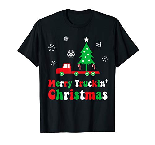 Funny Truck Driver Holiday Merry Trucking Christmas Tree T-Shirt