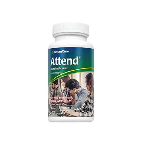 NaturalCare Attend | Healthy Mental Alertness, Focus & Mood Support for Children, Teenagers & Adults | Homeopathic Formula | 60 Capsules