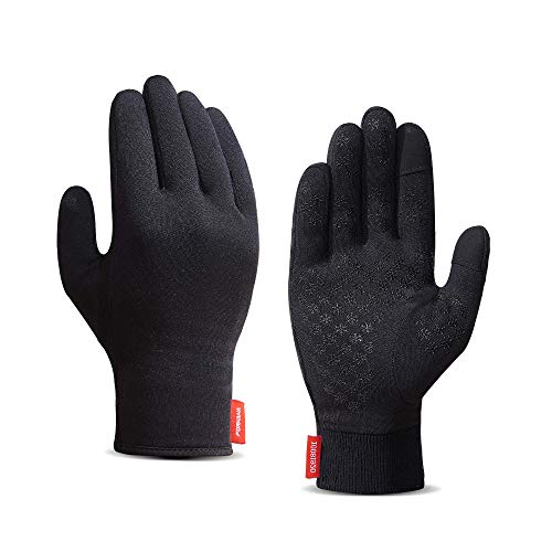 Upgraded Touch Screen Running Gloves Lightweight & Thermal Winter Gloves - Compression Mitten Liners Gloves for Men Women - Anti-Slip Driving Cycling Workout Sports Gloves with Elastic Cuff, L
