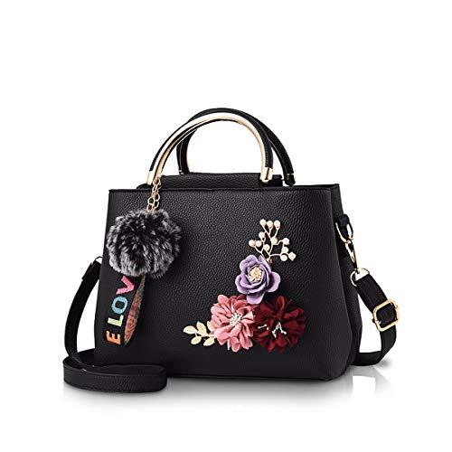 NICOLE & DORIS Damen Leder Handtasche Umhängetaschen mit Blume Jahrgang Griff Tasche Designer Tote Geldbörse mit Pom Pom Schwarz