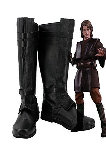 Telacos Anakin Cosplay Skywalker Shoes Costume Boots Black Custome Made