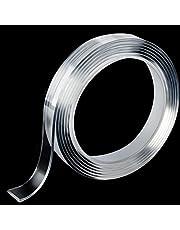 Nano dubbelzijdige geltape, wasbaar, transparant, nano-tape, antislip, herbruikbare kleefband, multifunctioneel, afneembare transparante band, 3 m lang, 1 cm breed