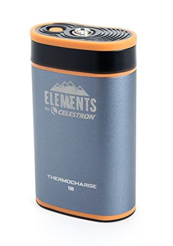 Celestron Elements 2-In-1 Hand Warmer and Charger, ThermoCharge 10, Silver/grey(48024)