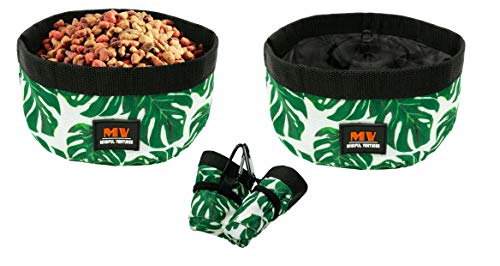 Mindful Ventures Collapsible Dog Bowl   2 Pack   Portable Dog Water & Food Bowls   Travel Hiking Gear   Foldable & Clip   Perfect for Medium to Large Dogs   Waterproof Fabric   Paradise Print