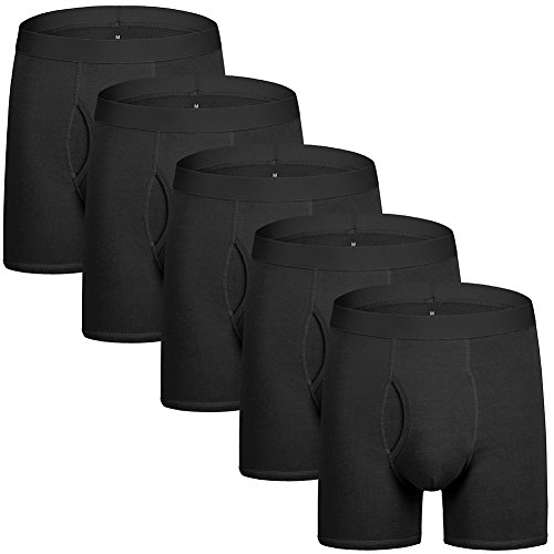 5Mayi Mens Underwear Boxer Briefs for Men Cotton Men's Boxer Briefs Black Pack of 5 L