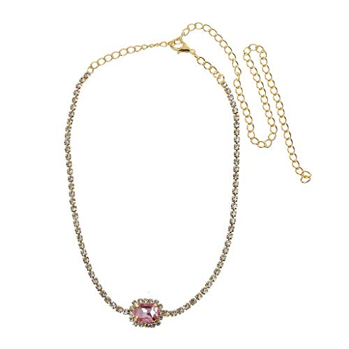 lfdhcn Luxury Square Crystal Stone Choker Shiny Fully White Cubic Zircon Necklace Women