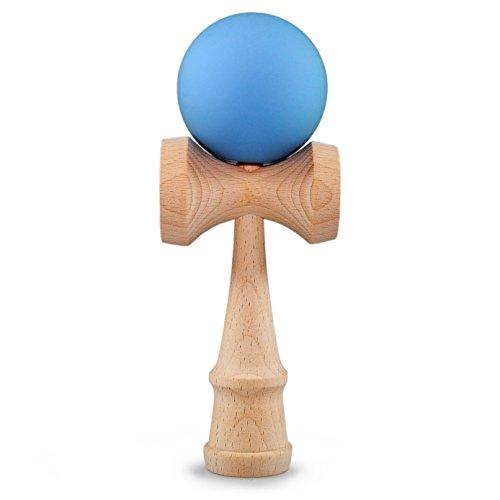 Ganzoo Kendama aus Buchen-Holz, Original Japanisches Traditionelles Holz-Spielzeug, Kugel-Spiel, Geschicklichkeits-Spiel, Geschenk (hellblau + Holz)