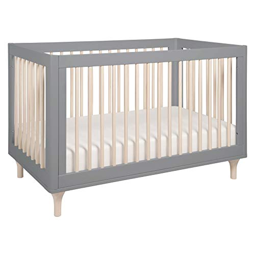 Babyletto Lolly 3 in 1 Convertible Crib with Toddler Bed Conversion Kit in Grey/Washed Natural, Greenguard Gold Certified