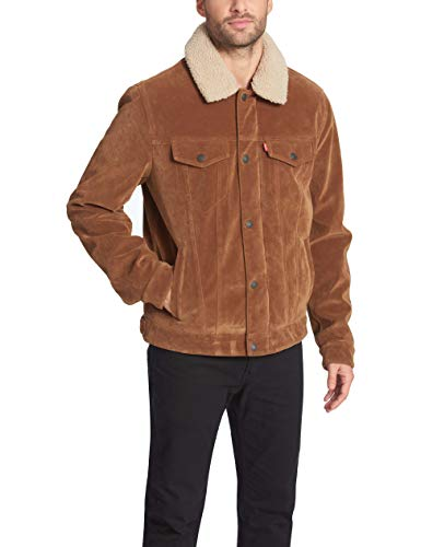 Levi's Men's Leather Sherpa Lined Trucker Jacket (Regular and Big and Tall Sizes), Cognac Faux Suede, XX-Large
