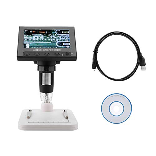 Shipenophy Microscope Digital Electronic DM4 Electronic Microscope PCB Magnifier for Industrial PCB Checking with LED Light(Plastic Rack)