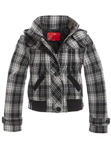 SS7 - Giacca da donna in misto lana con cappuccio, colore: grigio nero, taglie dalla 44 alla 44 Grigio/nero. 42