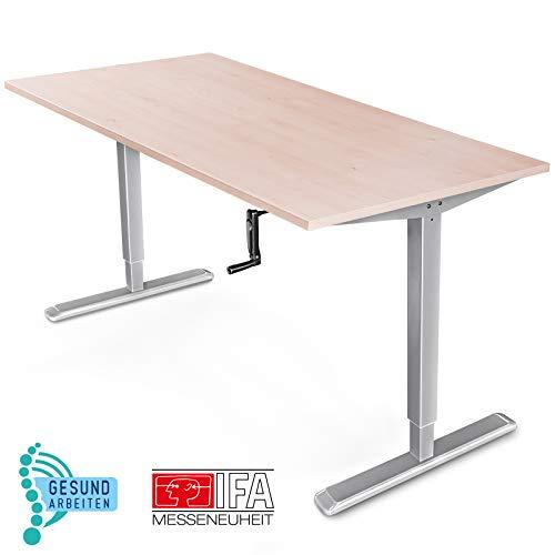 Deskfit Höhenverstellbarer Schreibtisch inkl Tischplatte – Made in Germany, manuell stufenlos ergonomisch verstellbar, 2 Säulen Teleskop Sitz-Steh Tischgestell DF100, Kurbel klappbar, einfache Montage