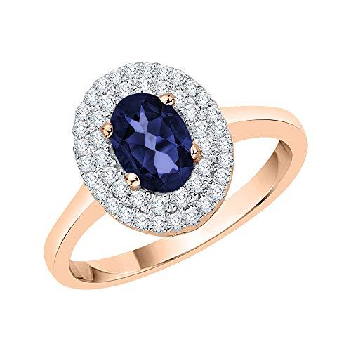KATARINA Anillo de compromiso con halo de zafiro de talla ovalada y diamantes en oro de 14 k (5/8 cttw, J-K, SI2-I1)