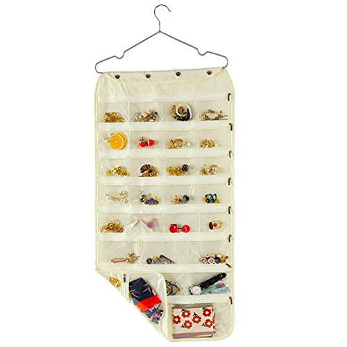Hanging Jewelry Organizer, Double Sided 56 Pocket Jewelry Chain Storage Bag 2 Layer of Fabric Zipper Travel Jewelry Organizer Holder for Necklace Bracelet Earring Ring Chain Knitting Tool- Beige