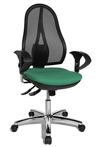 Topstar Open Point SY Deluxe, ergonomischer Syncro-Bandscheiben-Drehstuhl, Bürostuhl, Schreibtischstuhl, inkl. Armlehnen (höhenverstellbar), Stoff, grün