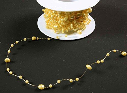 E+N Perlen-Kette Perlen-Girlande Tisch-Deko Blumen-Deko Hochzeit Geburtstag Kommunion Konfirmation Taufe DIY Creme, 8mtr