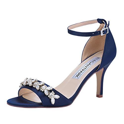 ElegantPark Navy Blue Heels for Women Ankle Strap Wedding Sandals for Bride Peep Toe High Heeled Sandals Satin Prom Evening Dress Wedding Shoes US 8