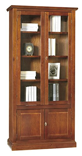 Lo Scrigno Arredamenti, Libreria/Vetrina Arte povera 2 Porte Vetro 2 ceche Tinta Noce 387/N