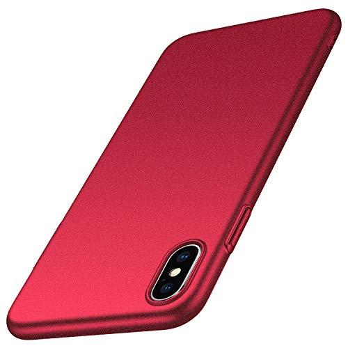 Homikon Etui en PC Matière Coque de Protection Plastique Housse Protecteur Bumper Ultra Slim Souple Dur Rigide Etui Résistant Étui Hard Case Cover Couverture pour Apple iPhone XS - Rouge Sable