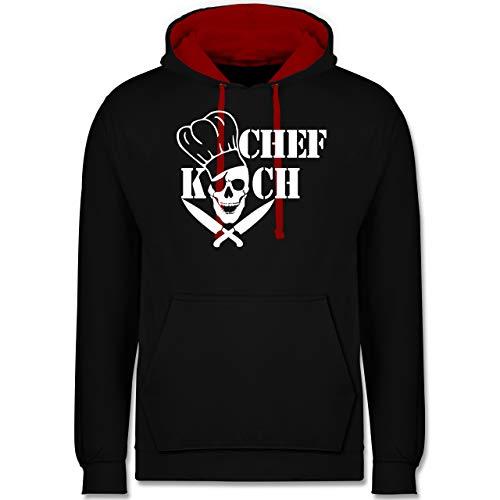 Shirtracer Küche - Chefkoch Totenkopf Skull - 4XL - Schwarz/Rot - Skull Hoodie - JH003 - Hoodie zweifarbig und Kapuzenpullover für Herren und Damen