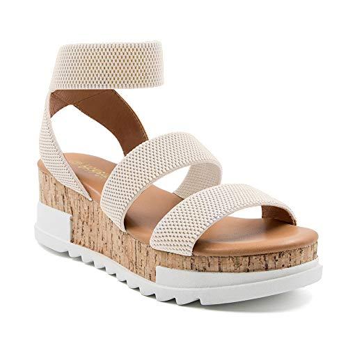 Athlefit Women's Wedge Sandals Platform Sandals Cork Elastic Strap Sandals Size 8 Beige