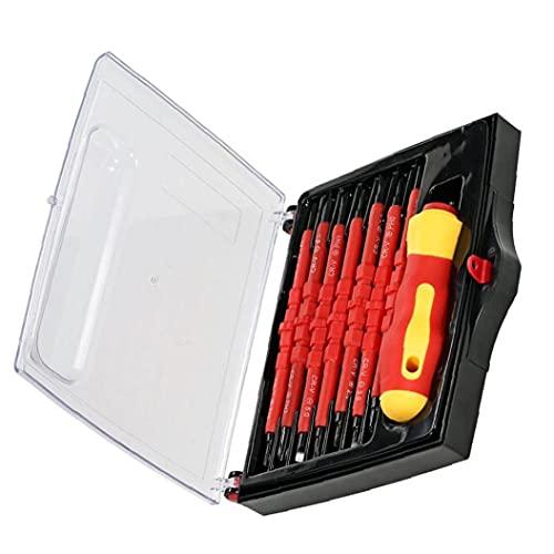 Destornillador con aislamiento de juegos de piezas de 7-en-1 intercambiables Phillips ranurados Bits reparación electricista herramienta 7-en-1