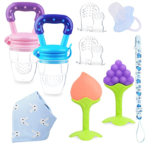Teething Pacifiers for Babies 0-6 Months, 14 Pack Baby Teething Toys Fruit Food Feeder Bib Set, 6-12 Infant Silicone Teether Newborn Gifts