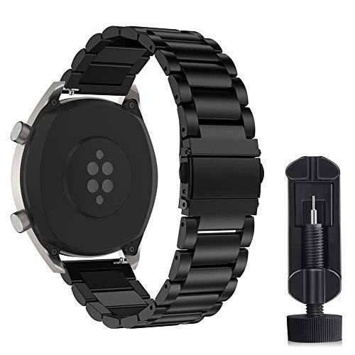 Cytech Cinturino per Samsung Gear S3 Classic/Frontier, Galaxy Watch 46mm, Huawei Watch GT 2 46mm, Huawei GT Sport/Active/Elegant/Classic, 22mm Cinturino in Acciaio Inossidabile (Nero)