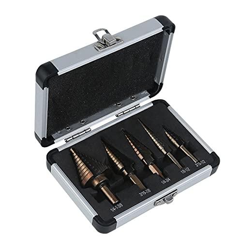 Broca escalonada HSS de 5 piezas con caja de aluminio, cobalto, orificios múltiples, cobalto, titanio, taladro cónico de carburo, herramienta de corte