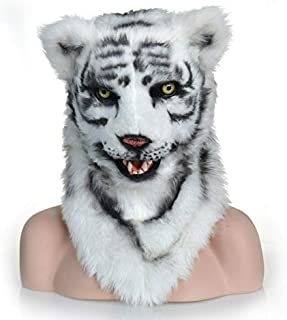 WNGCAR AU White Tiger mask hot Funny Custom Design Mouth Animal Party mask (Color : White)