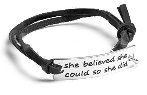Inspirational Jewelry Bracelet –'She Believed She Could So She Did' Quote – Silver Charm Wrap – Engraved Sayings for Inspiration, Motivation – Perfect Gift for Women, Men, Teens, Girls