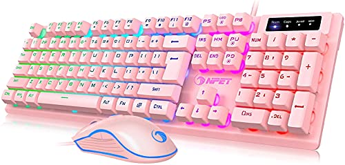 NPET S20 Wired Gaming Keyboard Mouse Combo, LED Backlit Quiet Ergonomic Mechanical Feeling Keyboard, Backlit Gaming Mouse 3200 DPI, for Desktop, Computer, PC, Pink