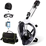Full Face Snorkel Mask,Advanced Safety Breathing System Allows You to Breathe More Fresh Air While Snorkeling,180 Panoramic Anti Fog Anti Leak Foldable Snorkel Mask for Adult and Kids(White-S)