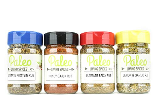 Paleo - Whole 30 - Spices by PALEO LIVING PRIMAL BLENDS Collection {4-Combo Pack & Meal Prep Container} can be used for Cooking, Grilling, Baking, & with Cookbooks (Limited Edition Set 'All Purpose')
