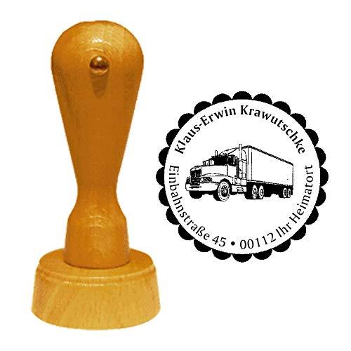 Stempel adresstempel « vrachtwagen TRUCK » diameter ca. Ø 40 mm - met persoonlijk adres, motief en sierrand - beroep expediteur vrachtwagen