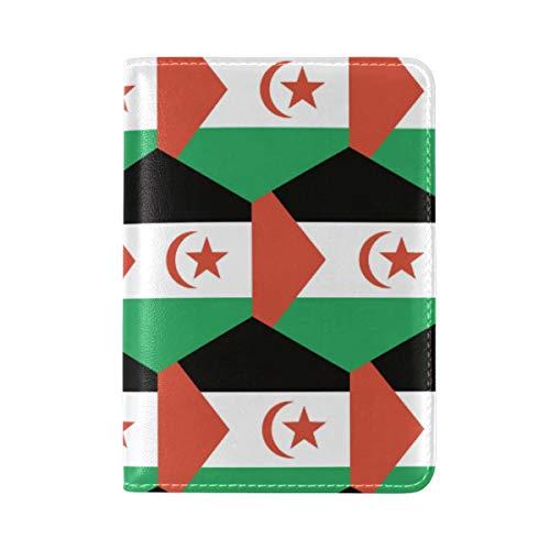 Reisepasshülle für Westsahara Saharaui arabische Flagge Leder – Halter – für Damen und Herren – Reisepasshülle