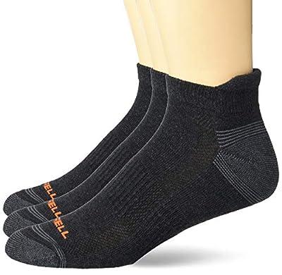 Men's Merrell Repreve Cushioned Hiker Low Cut Tab Socks 3 Pair, Black Heather, L/XL (Men's Shoe Size: 12-15)