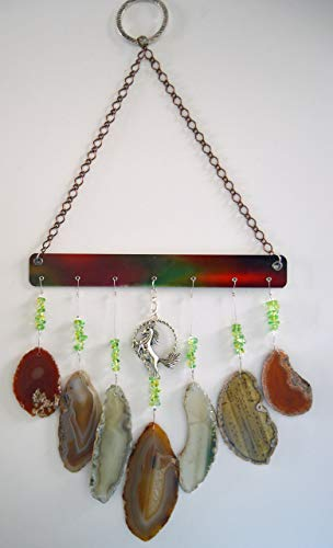 Agate geode wind chime windchime amber colors with horse sun catcher wind chime mobile