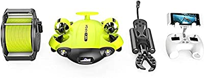 QYSEA FIFISH V6S Underwater Drone with Robotic Arm Claw + VR Box + 100M Cable + Spool + 64G SD-Card Bundle