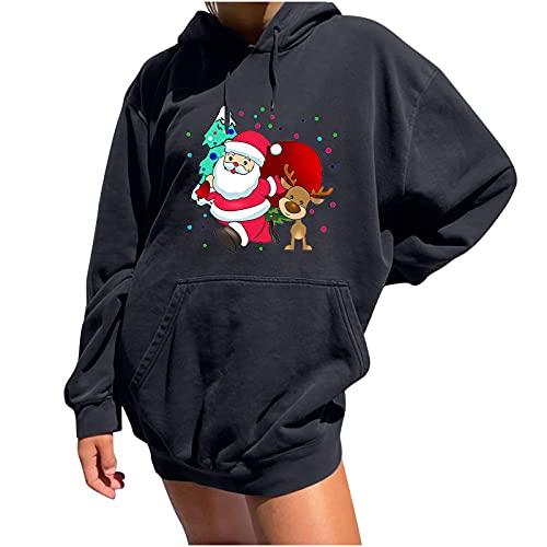 WANGTIANXUE Ropa deportiva para mujer con capucha y capucha, diseño de Navidad, manga larga, sudadera deportiva con cordón ajustable, para adolescentes y niñas, estilo vintage, gris oscuro, L