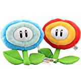 uiuoutoy Super Mario Bros. Fire Flower & Ice Flower Plush 7'' Set of 2 pcs