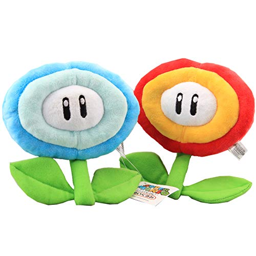 uiuoutoy Super Mario Bros. Fire Flower & Ice Flower Plush 7'' Set of 2 pcs