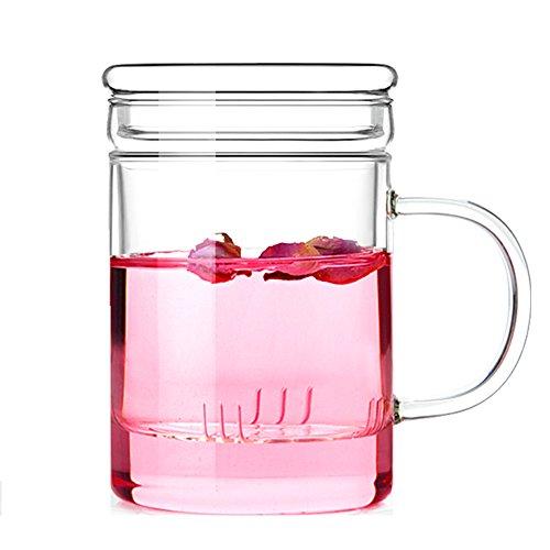 TAMUME 380ml Vetro Tazza Vetro con Filtro Vetro del tè e Coperchio Piatto (Dritto 380ml)